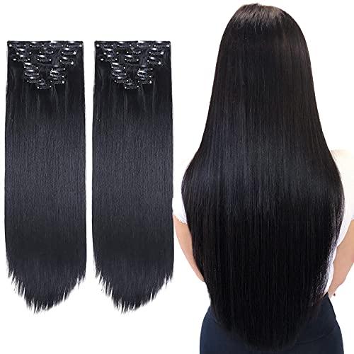 2 Packungen Clip-in-Haarverlängerungen Langer Gerader Vollkopf 8 Stück 17 Clips Weiches Dickes Kunsthaarverlängerungs-Haarteil für Frauen (24 Zoll, Schwarz)