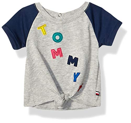 Tommy Hilfiger Baby Girls Short Sleeve Tee Shirt, Pastel Grey, 12M