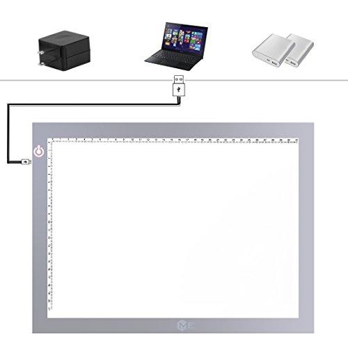 ME456 Light Up Box - A4 USB Adjustable Illumination Light Panel only 5mm Thin Light Table(Silver)