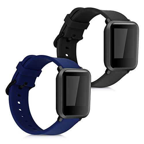 kwmobile 2X Brazalete Compatible con Huami Amazfit Bip S/Bip S Lite -  Pulsera de Silicona Negro/Azul Oscuro sin Fitness Tracker