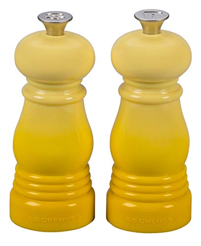 Le Creuset Kleines Mühlenset, Salz- und Pfeffermühle, ABS-Kunststoff, Je 5 x 5 x 12,1 cm, Keramik-Mahlwerk, Citrus (Gelb)