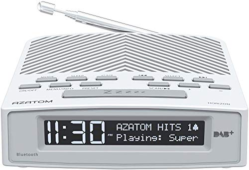 AZATOM Horizon DAB+ DAB Digital FM Radio, Dual Alarm Clock, Bluetooth 5.0, USB Moblie Charger, Mains & Battery Power, Headphone aux (White Pearl)