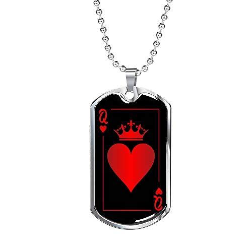 Express Your Love Gifts Joias de pôquer cassino, etiqueta de cachorro Rainha de Copas, aço inoxidável ou corrente de 61 cm de ouro 18 quilates One Size