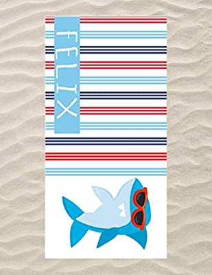 Personalized Shark Beach Towel and Bag for Kids - Personalized Towel and Drawstring Bag Pack for Boys, Shark Towel and Bag