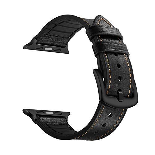 JWWLLT Correa de Tejido Liso de Cuero Genuino de Lujo para la Serie de Banda de Reloj de Apple 6 SE 5 4 3 2 Pulsera de Repuesto 44mm 40mm 42mm 38mm Cinturón