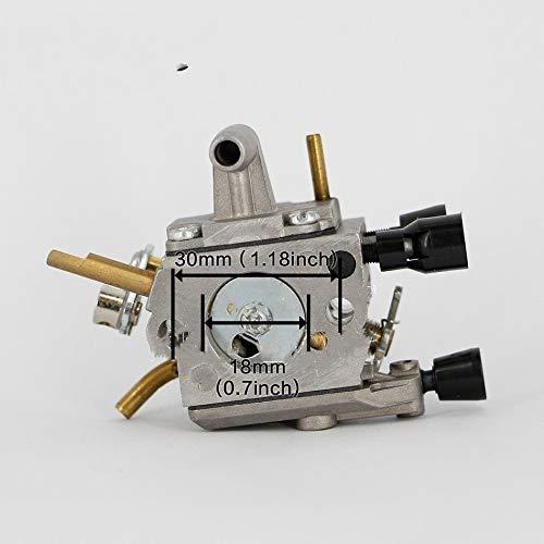 Partes de motocicleta Carburador Carb for STIHL FS120 FS200 FS200R FS250 FS300 FS350 Trimmer Weedeater desbrozadora 4.134 120 0.653 Fácil de reemplazar (Color : Silver)
