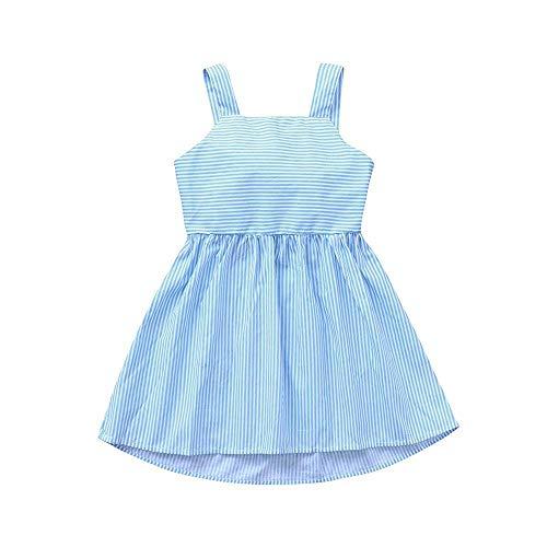 AIKSSOO Lichtblauwe zomerjurk voor kleine kinderen baby meisjes mouwloos meisje rok sling strips bowknot prinses jurk