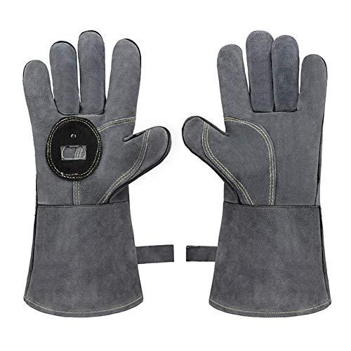 Barbecuehandschoenen van leer, brandvertragende en hittebestendige handschoenen met flesopener Grill buiten, magnetron, gesmeed lassen hoge sterkte en veiligheid