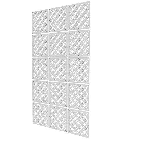 Separador Ambientes Interior de 15 Piezas - 118x197cm - Blanco Panel Separador Ambientes Forma Geometrica Biombo Interior para Cocina, Despensa, Escritorio, Estantería, Armario