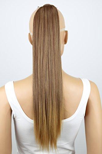 PRETTYSHOP 60cm Haarteil Zopf Pferdeschwanz Haarverlängerung Glatt Rotbraun Blond Mix HCK8
