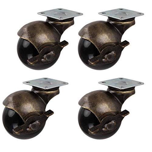 ZHDDM Möbelrollen Antike Lenkrolle Kugelrolle Räder Mit Abdeckplatte 360 Grad Drehen Mit Bremse Für Möbelschränke Rollstühle 4 Packungen