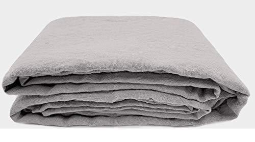 JOWOLLINA Spannbettlaken aus 100% Leinen Stonewashed (90 x 200+25 cm, Elefanten Grau)