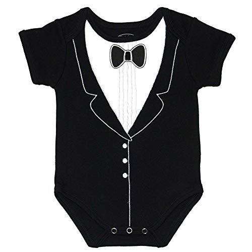 Infant Tuxedo Baby Bow Tie - 100% Cotton Tux, 3D Bowtie Baby Suit, 9 Months