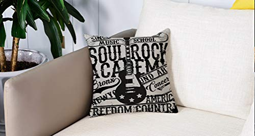 Square Soft and Cozy Pillow Covers,Retro, Soul Rock Academy Theme Music School...