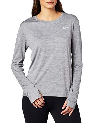 Nike Damen Long Sleeved T-Shirt W Nk Miler Top Ls, Gunsmoke/Htr/(Reflective Silv), XL, AJ8128