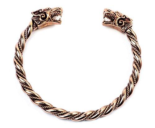 WINDALF Kriegerinnen Vikings Armreif FENRA Ø 6.6 cm Wikinger Wölfe Mittelalter-Armschmuck Handarbeit Bronze