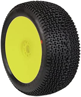 AKA Products 14112SRY Racing Truggy Evo City Block Soft Pre-Mounted Yellow Tire, Scale 1:8