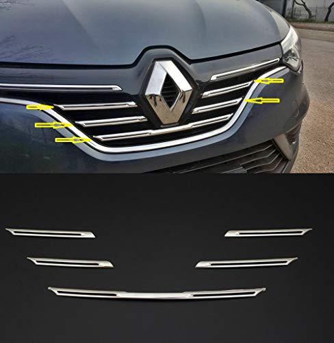 Adecuado para Renault Megane IV 2016+ Kit de Tira de Cubierta de Parrilla Delantera cromada de Acero Inoxidable de 5 Piezas
