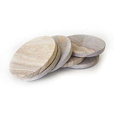 GoCraft Sandstone Absorbent Coasters   Natural Yellow Sandstone Round Coasters for your Drinks, Beverages & Wine/ Bar Glasses (Set of 6)