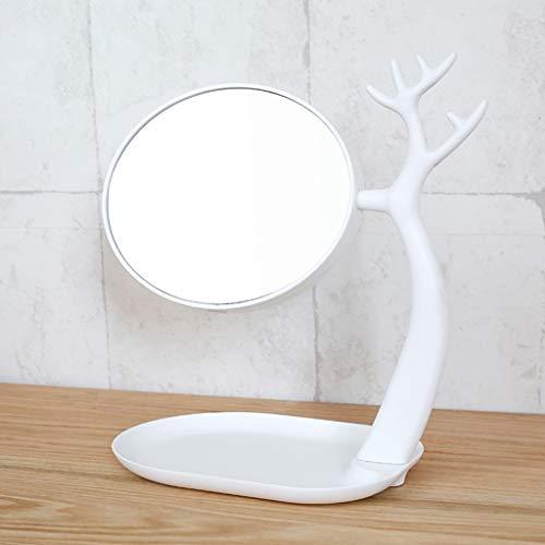 Explosionsgeschützter Tischspiegel -GDingQ Desktop Storage Spiegel, Schlafsaal Desktop Mirror 360 ° drehen Doppelseitige High Definition Spiegel reizende modellierende Spiegel Wasserdichter Beschichtu