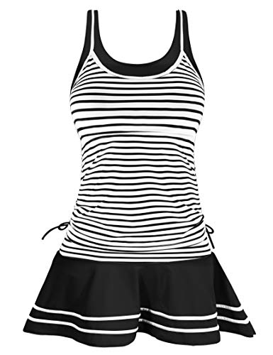 AONTUS Two Piece Swimsuits for Women Tankini Navy Bathing Suits (2XL(US20-22), White)