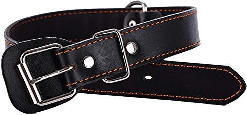 Teuffe Hundehalsband aus Leder Für Kleine mittelgroße extra große Hunde schwarz M