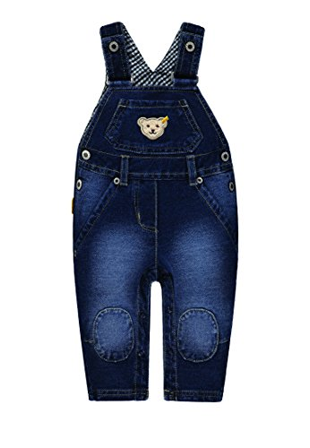 Steiff Baby-Jungen Knitted Jeans Latzhose, Blau (Light Blue Denim|Blue 0014), 62