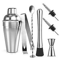 samione cocktail shaker set, 7 pezzi kit da barman in acciaio inox professionale 550ml shaker con accessori: misurino, cucchiaio mixer, pestello, beccucci, pinze per ghiaccio e ricetta