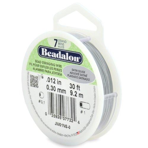 Beadalon 7-Strand Stainless Steel 0.012-Inch Bead Stringing Wire, 30-Feet, Satin Silver