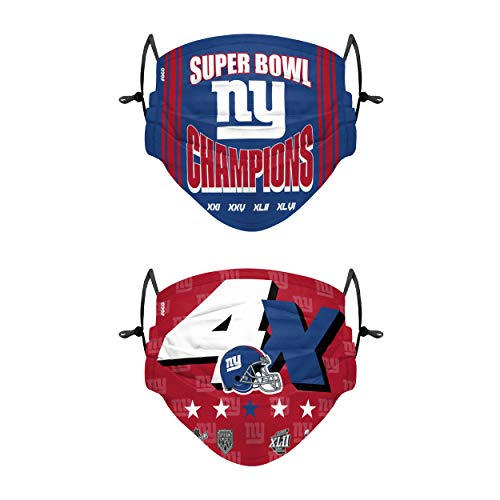 New York Giants NFL Thematic Champions Adjustable Face Cover - 2 Pack - Adult