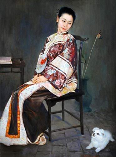 CAPTIVATE HEART Arte de la Pared de la Lona 40x60cm Sin Marco Pintura al óleo de la Mujer de la dinastía Qing China en la Pared Imágenes artísticas para la decoración del hogar de la Sala de Estar