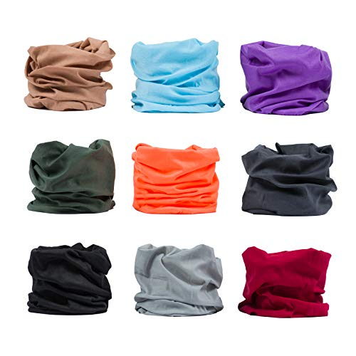 ERAN8 Multi-Pack Bandanas, Multifunctional Headwear, Stretchable Headbands, Buff Hairbands