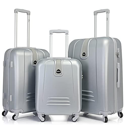 BONTOUR Trolley da Viaggio Classico con Custodia Rigida, Suitcase Travel Luggage(Set 3 pezzi,...