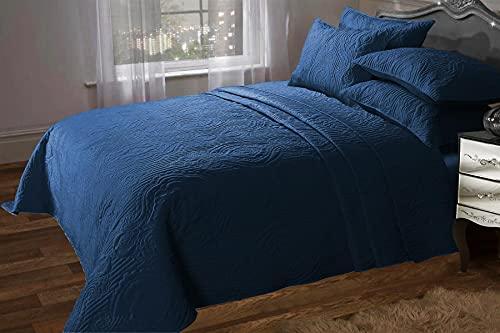Olivia Rocco Sorrento gesteppte Tagesdecke, Designer-Tagesdecke, Doppelbett, Kingsize, 240 x 260 cm, Marineblau