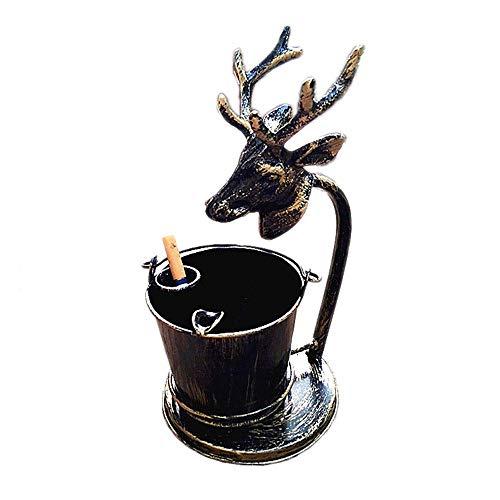 WLP-WF Titular Retro Cenicero de Metal, Creativo Principal de Los Ciervos Ronda Barril Ceniceros para Los Cigarrillos Y el Cigarro, Cenicero Grande de la Antigüedad por la Sala de Estar Decoración de
