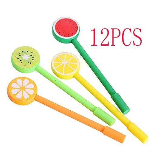Cosanter 12PCS Bolígrafo de Tinta de Gel para Niña, Kawaii Papelería, Forma de Fruta Lollipop,Pin Tipo, 0,5MM, Negro