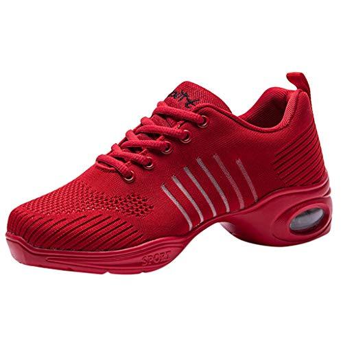POLPqeD Scarpe da Ballo Sportive Donna - Casual Traspirante Antiscivolo Maglia Tela Pizzo Sneakers Ginnastica Jazz Moderno Walking Danza Fitness Outdoor