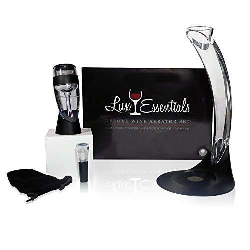 LUX Essentials Deluxe Wine Aerator Gift Set - Wine Aerator, Tower, Stand and Vacuum Wine Pump Stopper.