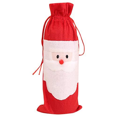 WANWE 10 Piezas Papá Noel Navidad Bolsas con CordóN para Botella de Vino Tinto Cubiertas Bolsas Cena Fiesta DecoracióN de Mesa Bolsa de Vino Tinto