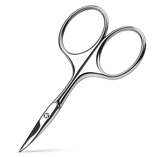 BEZOX Tijeras de hoja curvada utilizadas como tijeras de cutículas, tijeras de uñas o cejas, tijeras profesionales de acero inoxidable para manicura para hombre y mujer, con bolsa de embalaje de cuero