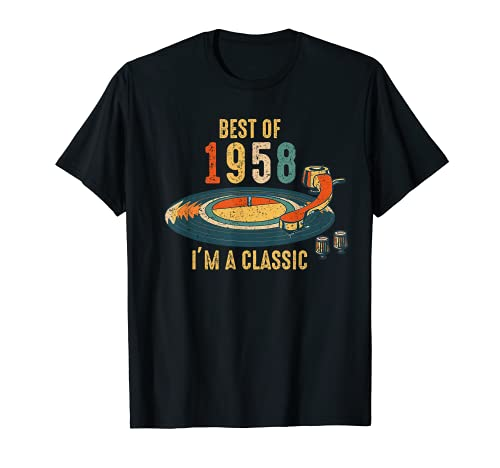 Vintage 1958 soy clásico 63rd cumpleaños retro disco de vini Camiseta