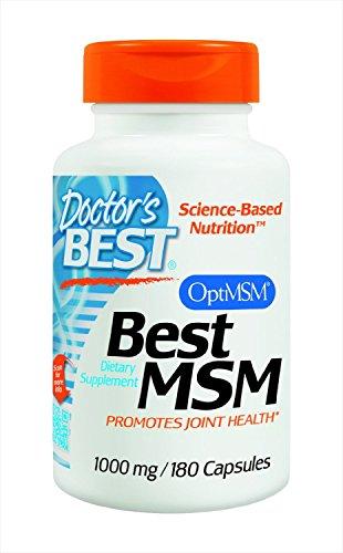 Doctor's Best, MSM, con OptiMSM, 1.000 mg, 180 capsule vegane, senza soia, senza glutine