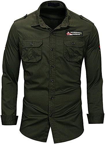 TANGO & CASH Men's Double Pocket Stretchable Denim Shirt (Military Green, Medium)