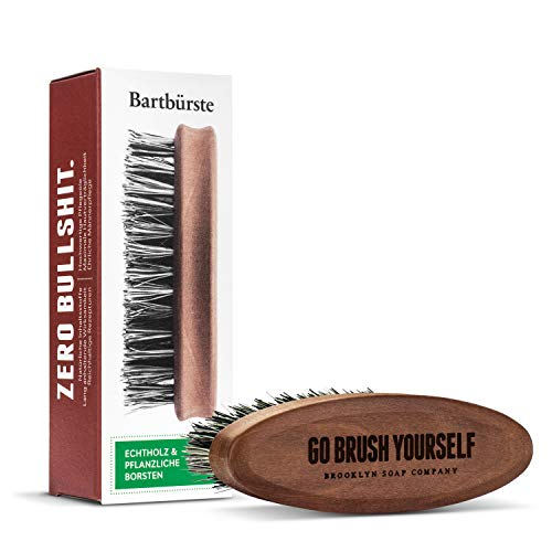 Bartbürste · BROOKLYN SOAP COMPANY · Bürste mit veganen Borsten - für die tägliche Bartpflege von 3-Tage-Bart oder Vollbart · Beard Brush als Geschenk für Männer und für die Reise ✓