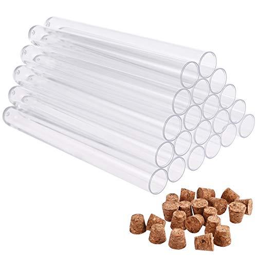 Faburo 20 Stück Reagenzgläser Kunststoff Transparent Reagenzgläser Reagenzglas mit Korken (150x16mm)20ml