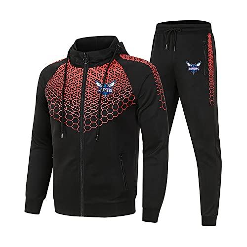 EFXCHSY Conjunto de chándal para hombre y mujer Traje de jogging H.ornets Suéter con capucha a rayas de 2 piezas + Pantalones traje deportivo Hombres/Negro/M