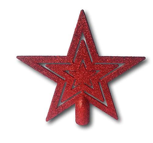 HCH Weihnachtsbaumspitze Baumspitze Christbaumspitze Baumstern Spitze Stern Baumschmuck Weihnachtsbaum-Stern Weihnachtsstern Glitzer Frost (Rot)