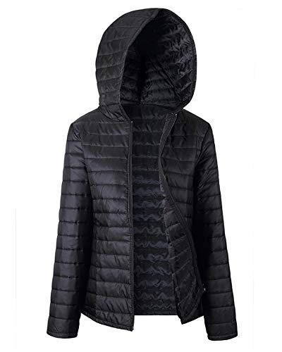 Soluo Women's Lightweight Packable Jacket Clearance Winter Light Weight Down Hooded Coat Outwear Overcoat Tops - black - XXL