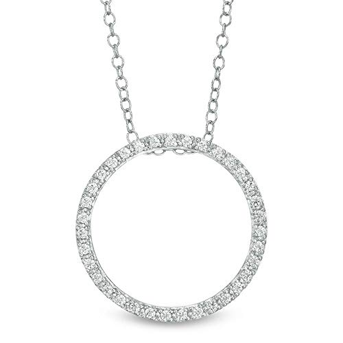 1/4 CT. T.W. D/VVS1 Diamond Open Circle Pendant With 18' Chain In 14K White Gold Plated 925 Silver 4-Prongs