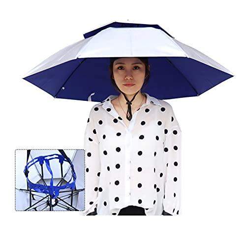 ZAZAP-1 Sombrero de Paraguas de Pesca al Aire Libre, Sombrero de Paraguas Protección UV, Protector Solar Sombreros de Cabeza Sombreros de Paraguas Ajustables para Adultos Niños Pesca al Aire Libre